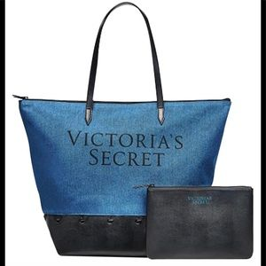 Victoria's secret carryall denim tote bag & pouch
